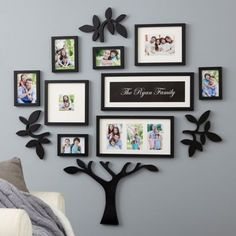 Design a visual and sentimental work of art on your wall with this Wall Verbs Personalized Family Tree Set. Holds up to 10 photos as well as a framed print that features your family name in your choice of background color and font options. Free shipping on orders over $29.