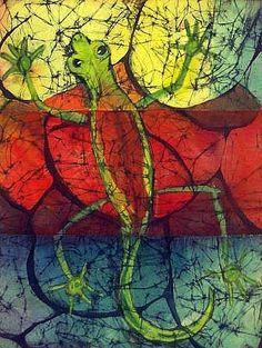 Colorful Chameleon on cobblestone fine art batik by Kay Shaffer