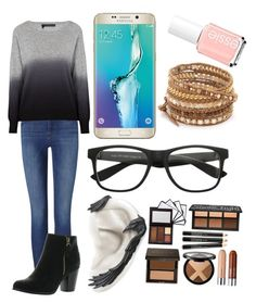 """""""#20"""" by andreea-ioa-na on Polyvore featuring Frame Denim, 360 Sweater, Reneeze, Samsung, Chan Luu and Essie"""