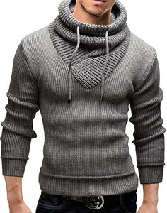 Merish Strickpullover Pullover Schalkragen Slim Fit Herren 50 Grau S