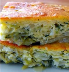 Easy Cabbage Pie 2/3 c.bisquik, 2/3 c.milk, 2 eggs, dill. boil onion & cabbage 8 min with salt/pepper/tinybit Mrs.Dash., 2 Tb. feta cheese,  mix batter w/ veggies and layer 1 batter, 1 swiss cheese, top batter again,