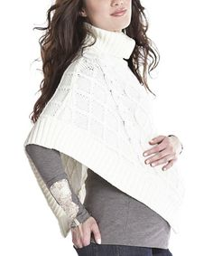 Take a look at this Ivory Cable-Knit Maternity Poncho by Lilac Maternity on #zulily today!