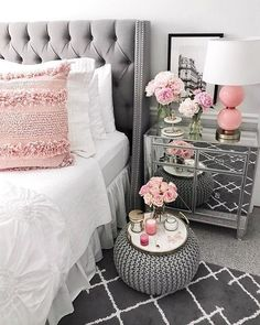 home decor - 83 stunning classy master bedroom design and decor ideas 61 Country Master Bedroom, French Bedroom Decor, Glam Bedroom, Shabby Chic Bedrooms, Master Bedroom Design, Home Decor Bedroom, Classy Bedroom Ideas, Silver Bedroom Decor, French Master Bedroom