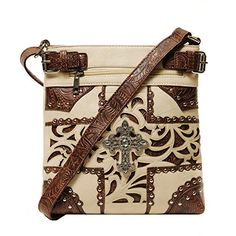 Beige - Rhinestone Cross Crossbody Letter Carrier Bag, Concealed Carry Pocket Fashion Helpers