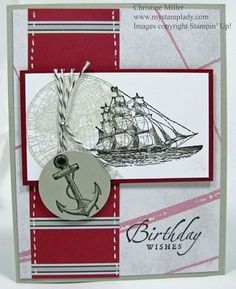The Open Sea Stampin Up!....love the faux stitching on the dsp