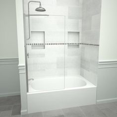 Clear glass: 0.3125-inch safety-tempered glass will display your shower's design. Reversible- panel may be installed for either right or left entrance. Shower door can be installed on fiberglass, solid surface or tile bases or tubs. Aluminum hardware comes in four popular finishes: polished chrome, brushed nickel, oil rubbed bronze, and matte black. Polished chrome finish provides style to match your shower. A 1.5-inch wide curb is required along with proper wall studs to support the weight of t Bathtub Doors, Shower Doors, Bathtub With Glass Door, Bathtub Shower Combo, Shower With Tub, Bath Shower, Tile Redi, Small Bathtub, Bathtubs For Small Bathrooms