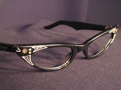 "Vintage 60s Black ""Cat Eye"" Eyeglass  Frame"