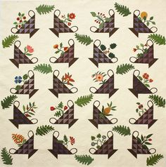 Forgotten Treasure - this Common Threads original pattern is a reproduction of an antique quilt Antique Quilts, Vintage Quilts, Quilting Projects, Quilting Designs, Sampler Quilts, Appliqué Quilts, Flower Quilts, Basket Quilt, Traditional Quilts