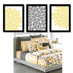 Yellow Gray Flower Burst Dahlia Bloom Artwork Set of 3 Trio Prints Wall Decor Abstract Art Picture Silhouette
