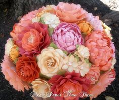 Paper Bouquet - Paper Flower Bouquet - Wedding Bouquet - Salmon and Peach - Custom Made - Any Color