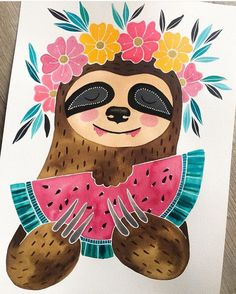 Because Sloths... Artwork by @_jessica_leigh__ Tag: #artnerd2016 by art_collective