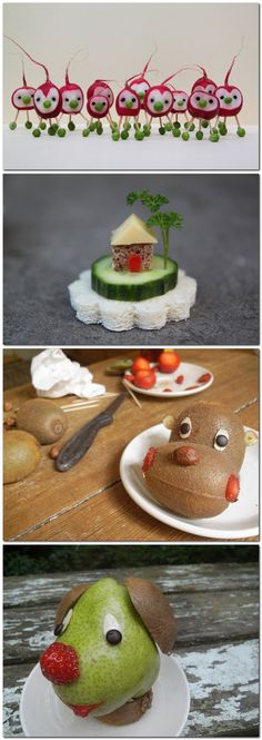 Fun fruit and veggie art Food by Sabine Timm - Such a fun way for everyone in the family to get more veggies! Cute Food, Good Food, Funny Food, Veggie Art, Food Carving, Snacks Für Party, Night Snacks, School Snacks, Fruit Art