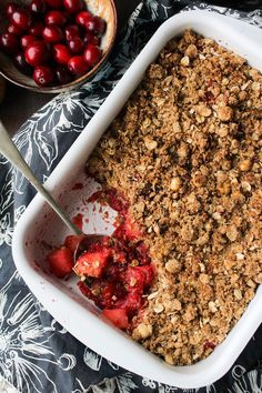 Sweet & tangy Cranberry Apple Crumble topped with an oat & hazelnut topping. Gluten free + Dairy Free + Vegan