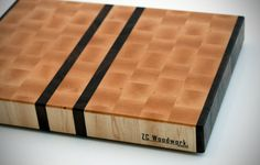 Large End Grain Cutting Board  Maple with Walnut by ZCwoodwork