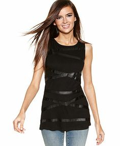 INC International Concepts Faux-Leather-Striped Sleeveless Tank Top