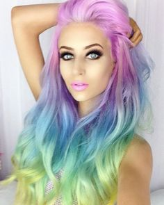 Rainbow dyed hair color More