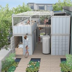 Ecological urban spa made from shipping containers.