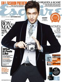 Lee Min Ho suits up in Giorgio #Armani for the cover of Esquire Korea, September 2013