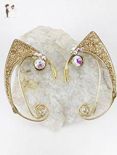 Elven Ear Cuffs Cat Ears GOLD Glitter Fantasy Film Fairy Ear Cuffs with Gems, Fairy Ear Cuffs, Cosplay Elf Ear Cuffs, Kitty Ears - Wedding earings (*Amazon Partner-Link)