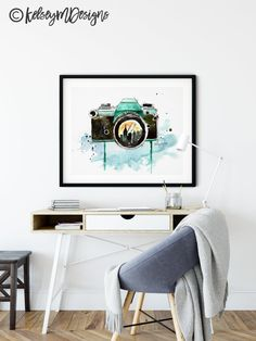 Camera Watercolor Painting Print Photography artwork | Etsy Watercolor Print, Watercolor Paintings, Camera Painting, Photo Lens, Kitchen Prints, Photography Gifts, Painting Prints, Artwork, Etsy