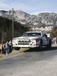 Getting some air... Markku Alén & Ilkka Kivimäki. @LanciaAuto 037, Rally Monte Carlo 1983.