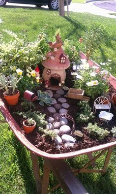 Wheel barrel Fairy garden, we got the idea and began collecting supplies a week later we were done!!! This was a great project with my children of 14,11 6. MC - Fairy Gardens