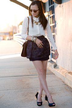 Chic skirt + fun statement jewelry