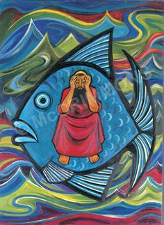 God's Promises: Jonah and the Whale by The Benedictine Sisters of Turvey Abbey, from a set of 12 illustrations. Available as an A4, A4L, A3, A3L, or A2 poster, singly or in a set of 12, free accompanying book with every set. Also available as hardwearing printed boards or banners.
