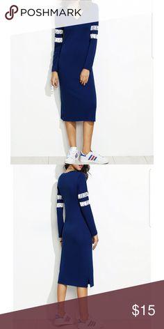 V Cut Varsity Striped Jersey Sheath Dress Sale! SHEINV Cut Varsity Striped Jersey Sheath Dress Unbrended Dresses Midi