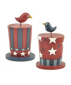 Take a look at this Patriotic Hat & Bird Figurine Set by Blossom Bucket on #zulily today!