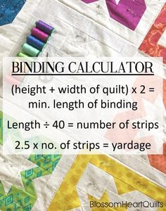 Quilt binding calculator maths and machine binding tutorial by BlossomHeartQuilts.com