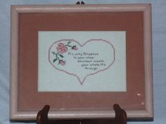 Completed Lucky Sixpence Cross Stitch Finished Wood Framed 11 x 9 Matted Pink