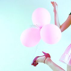 Pink Balloons. Pink High Heels. Pink Dress
