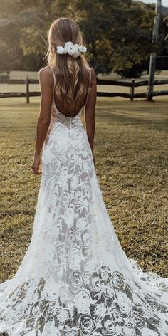60 Trendy Wedding Dresses For 2020 ❤ trendy wedding dresses a line with spaghetti straps backless boho grace loves lace ❤ Wedding Dress Tight, White Wedding Dresses, Designer Wedding Dresses, Bridal Dresses, Boho Lace Wedding Dress, Boohoo Wedding Dress, Backless Wedding Dresses, Wedding Dress Straps, Simple Lace Wedding Dress