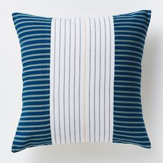 Steven Alan Centered Ribbon Pillow Cover - Lagoon | west elm