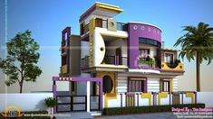 Modern house exterior designs in india - House and home design Indian Home Design, Indian House Exterior Design, Modern Exterior House Designs, Kerala House Design, Design Exterior, Exterior Paint Colors For House, Modern Design, India Design, House Wall Design