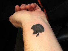 Black Apple Logo Tattoo On Wrist Black Apple Logo, Apple Tattoo, Cat Tattoo, Tattoo Designs, Geek Stuff, Ink, Nerd Tattoos, Tatoo, Tatuajes