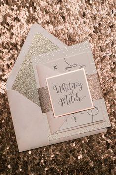 Rose Gold Foil Wedding Invitations, Digital and Foil Printing, Blush and Rose Gold, Jupiter and Juno #weddinginvitation