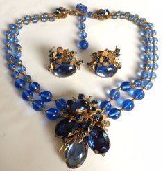 Vintage Miriam Haskell Necklace & Earrings Set~Blue Glass/RS/Gilt Filigree~Sign #MiriamHaskell