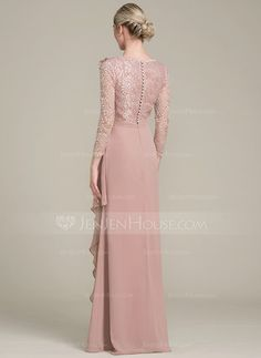A-Line/Princess V-neck Floor-Length Flower(s) Cascading Ruffles Zipper Up Covered Button Sleeves Sleeves No Dusty Rose General Plus Chiffon Lace US 2 / UK 6 / EU 32 Mother of the Bride Dress Dress Brukat, Mom Dress, Bridesmaid Dresses Plus Size, Bridesmaid Dress Colors, Rose Gold Gown, Mother Of The Bride Gown, High Fashion Dresses, Chiffon Evening Dresses, Couture Dresses