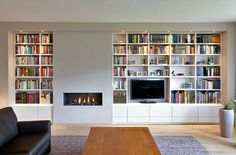ideas home library modern fireplaces Fireplace Bookshelves, Home Fireplace, Fireplace Design, Bookcase, Faux Fireplace, Living Room Storage, Home Living Room, Living Room Decor, Living Spaces