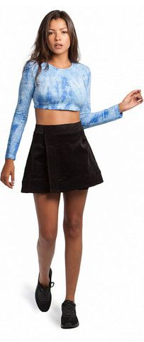BLUE TIE-DYE CROP TOP & BLACK WRAP SKIRT Blue Ties, Blue Tie Dye, Tie Dye Crop Top, Black Crop Tops, Mini Skirts, Shopping, Collection, Fashion, Moda