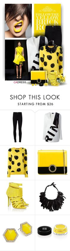 """""""Yellow Trendy Stiletto Heels Leather by Cadress"""" by christiana40 ❤ liked on Polyvore featuring Frame Denim, Anthony Vaccarello, Jeremy Scott, Bulgari, Monies, ABS by Allen Schwartz and Givenchy"""