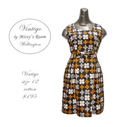 New dress, made by us in Wellington, from medium weight vintage cotton. Only one dress was made from this fabric (SOLD)
