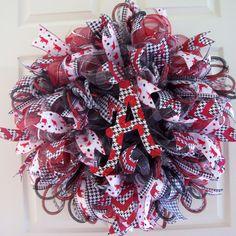 Alabama Mesh Wreath,Alabama Wreath,Bama Wreath,Bama Mesh Wreath,Roll Tide Mesh Wreath by CherylsCrafts1 on Etsy