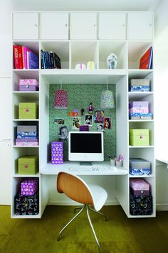 Feminine and wonderful working spot with lots of space for storage! You can make it look more sophisticated, by replacing the coloured items with black and white items.