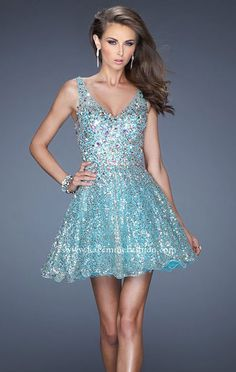 2014 Aqua V-Neck La Femme 19283 Open-Back Short Beaded Homecoming Dresses