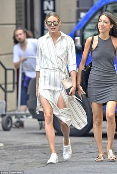 Olivia Palermo in New York Striped wrap button down shirt dress