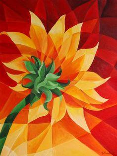 Cubism: Geometric flower painting by Tiffany Budd – beauty flowers Cubism Art, Geometric Flower, Geometric Art, Sunflower Art, Pablo Picasso, Teaching Art, Pop Art, Art Projects, Google Search