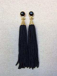 Black Stud Beaded Tassel Earrings